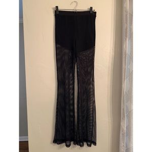 Forever 21 fishnet high-rise flare pants
